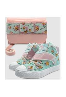 Tênis Com Bolsa Carteira Mz Shoes Raposa Verde/Rosa