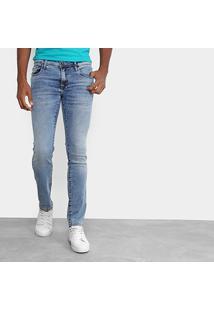 Calça Jeans Skinny Opera Rock Estonada Bolso Faixas Masculina - Masculino-Azul Claro