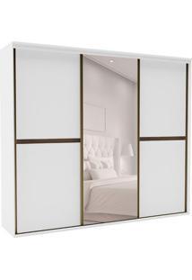 Guarda-Roupa Casal Com Espelho Sofisticato L 3 Pt 6 Gv Branco