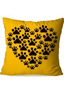 Capa De Almofada Decorativa Coração Patinhas 45X45Cm - Kanui