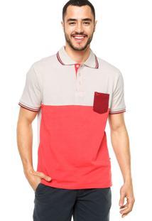 Camisa Polo Manga Curta Yacht Master Slim Bege/Vermelha