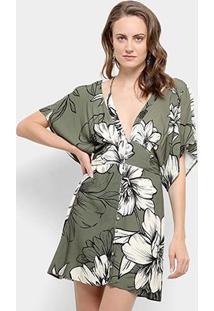 12dd83245 R$ 299,99. Zattini Vestido Farm Kaftan Curto Botões Floral Nath - Feminino -Verde