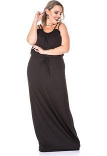 Vestido Preto Longo Plus Size