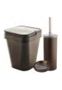 Conjunto Banheiro Lixeira Plástica Eco 5L Escova Sanitária Saboneteira