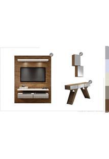 Conjunto Para Sala De Estar Com Painel Para Tv, Aparador E Nicho 2 Portas Com Espelho Nobre - Combine +