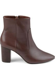 Bota Ankle Couro Total Cafe