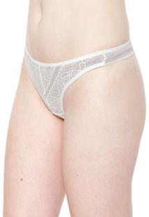 Calcinha Calvin Klein Underwear Fio Dental Marbella Off-White
