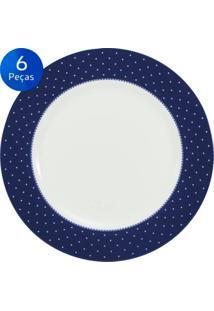 Conjunto Pratos Rasos Maitê 6 Peças - Schmidt - Branco / Azul