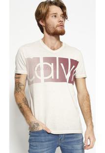 """Camiseta """"Calvinâ®"""" - Cinza Claro & Vinhocalvin Klein"""