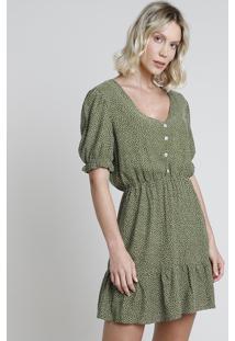 Vestido Feminino Bbb Curto Estampado De Poá Com Botões E Babado Manga Curta Verde