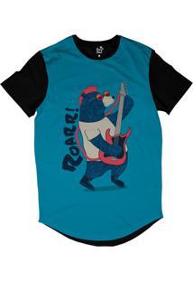 Camiseta Longline Long Beach Urso Guitarra Sublimada Azul