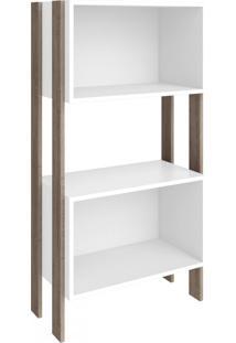 Estante Para Livros 2 Nichos 3092 Rústico/Branco - Móvel Bento