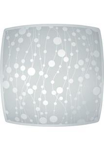 Plafon Em Vidro Para 1 Lâmpada Quadrado Recife 25Cm