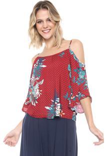 Blusa Ciganinha Mercatto Floral Vermelha/Azul
