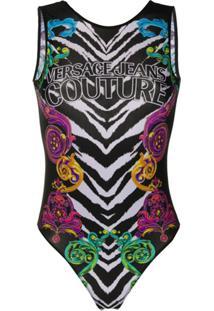 Versace Jeans Couture Vestido Sem Mangas Com Estampa De Tigre - Preto