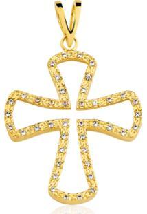 Pingente Toque De Joia Crucifixo 3D - Feminino-Dourado