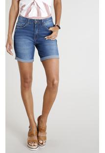 Bermuda Jeans Feminina Com Barra Dobrada Azul Médio