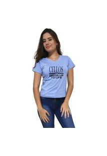 Camiseta Feminina Gola V Cellos Dress Up Premium Azul Claro