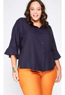 Camisa Almaria Plus Size Garage Viscose Renda Azul
