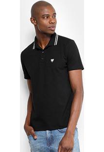 Camisa Polo Cavalera Básica Bordado Masculina - Masculino-Preto
