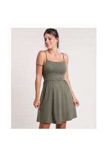 Vestido Feminino Curto Evasê Com Alça De Corda Verde Militar
