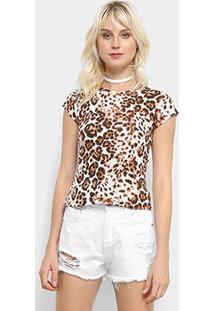 Camiseta Flora Zuu Animal Print Onça Feminina - Feminino