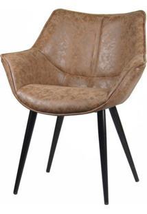 Cadeira Anne Corino Marrom Vintage Base Preta - 58281 - Sun House