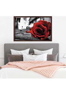 Quadro Love Decor Com Moldura Rose On The Floor Madeira Escura Médio