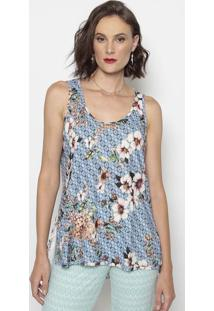 Blusa Floral Com Fendas- Azul & Rosa- Cotton Colors Cotton Colors Extra