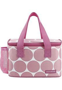 Bolsa Térmica Poá Com Tag- Rosa Claro & Branca- 13X2Jacki Design