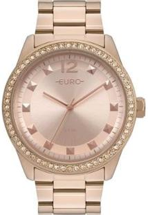 Relógio Euro Pedrinhas Spikes Delicado Moderno Feminino - Feminino-Rosa Claro