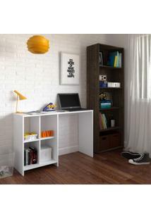 Escritório Completo Com Escrivaninha E Estante Para Livros Focus Iii Siena Móveis Branco/Canela