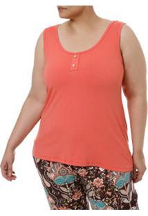 Blusa Regata Millenium Plus Size Feminina - Feminino-Coral