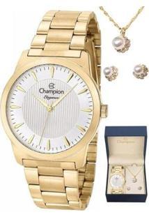 Kit Relógio Champion Elegance Feminino - Feminino-Dourado