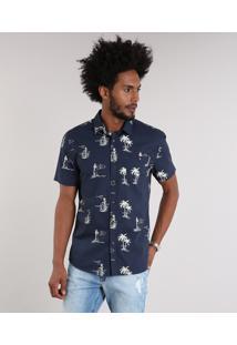 Camisa Masculina Estampada Com Bolso Manga Curta Azul Marinho