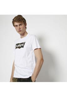 Camiseta Camuflada Com Inscriã§Ã£O- Branca & Verdelevis