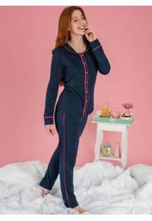 Pijama Longo Marinho E Pink Com Botões