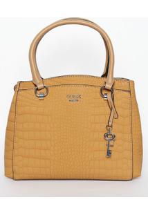 Bolsa Texturizada Com Bag Charm- Bege Escuro- 25X27Xguess