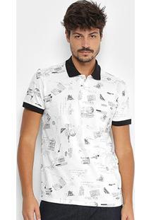 Camisa Polo Colcci Estampada Masculina - Masculino-Branco+Preto