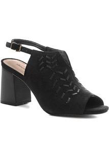 Sandália Shoestock Couro Enfiados Salto Bloco - Feminino-Preto
