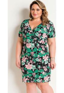 Vestido Floral Transpassado Plus Size