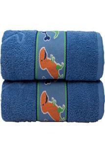 Jogo 2 Toalhas Banho Infantil Algodão Desenhos Camesa 70X130 Azul
