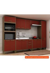 Cozinha Compacta Vitória 13 Pt 3 Gv Vermelha E Avelã