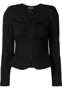 Emporio Armani Draped Effect Jacket - Preto