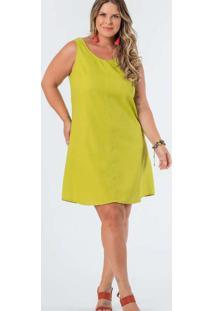 Vestido Almaria Plus Size Munny Curto Liso Verde