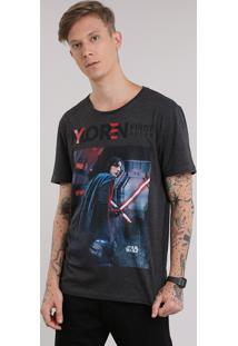 "Camiseta Star Wars ""Kylo Ren"" Cinza Mescla Escuro"