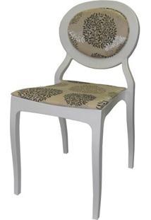 Cadeira Louix Cor Branco Off Com Tec.Marrom E Bege - 23001 Sun House