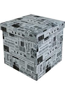 Puff Baú Desmontável Quadrado Newspaper 38X38Cm Preto E Branco
