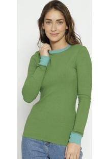 Blusa Canelada Com Recorte- Verde- Colccicolcci