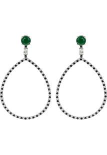 Brinco Longo Gota The Ring Boutique Pedra Cristal Verde Esmeralda Ródio Ouro Branco